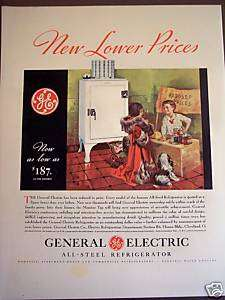 1932 Kids and Dog art GE monitor top Refrigerator ad