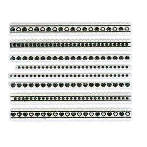 Glitter White & Black Heart/Dot Lace Strip Nail Stickers/Decals