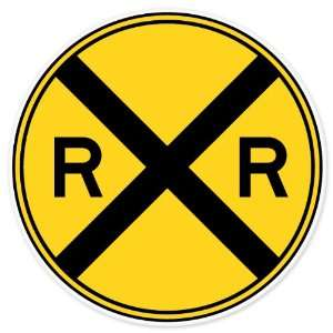 Railroad Crossing Road Sign car bumper sticker window decal 4 x 4