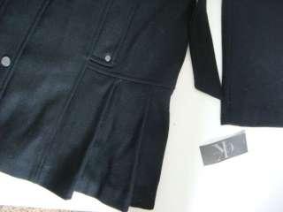 CALVIN KLEIN New Black Wool Ruffle Pleated Skirt Trench Coat Jacket