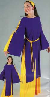 Tunic Liturgical Church Dance Purple w/Gold Top LadiesPlus