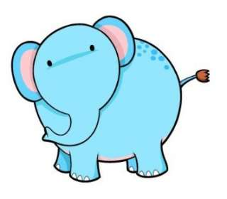 Childrens Wall Decals   Cartoon Baby Blue Elephant   12
