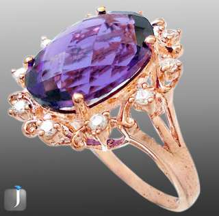 size 7 PURPLE AMETHYST OVAL WHITE TOPAZ 925 STERLING SILVER COCKTAIL