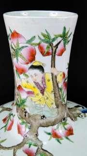 HUGE Chinese Porcelain Famille Rose Boys Playing Peach Vase  Qianlong
