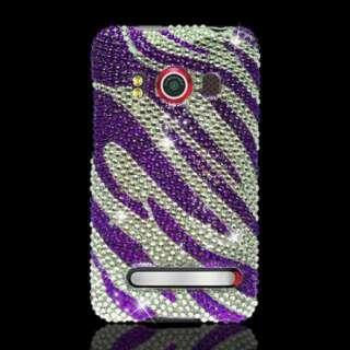 Purple ZEBRA Rhinestone DIAMOND Case for Sprint HTC EVO 4G Jeweled