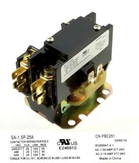 NEW DEFINITE PURPOSE CONTACTOR CN PBC251 120V 25/30a 1p
