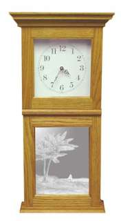 Etched Glass Mirror Art Oak Mantle or Wall Clock