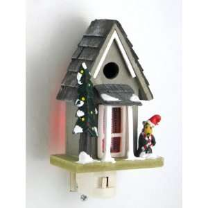 Holiday Mountain Cabin Home Night Light with Bear