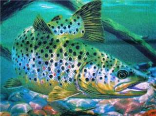New Speckled Trout Fish Fishing Fabric Pillow Panel