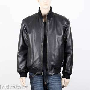 MENS CASUAL ZIP UP KNIT COLLAR BLACK LEATHER JACKET