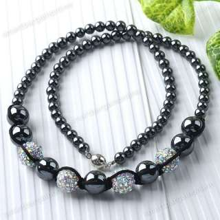 1x Magnetic Hematite AB Crystal Disco Round Ball Beads Chain Necklace