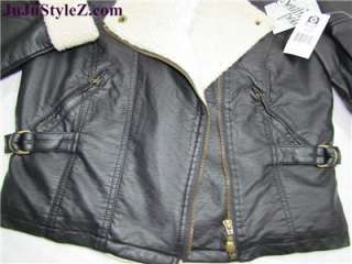 South Pole Womens Black Faux Leather / Fur Bomber Jacket Coat Size