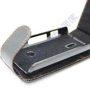 Black Flip Leather Case Cover Pouch For Sony Ericsson XPERIA X8