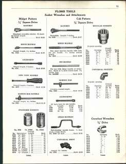 1947 ad 5 Page Plomb Tools Socket Wrenches Ratchets Hammers Chisels