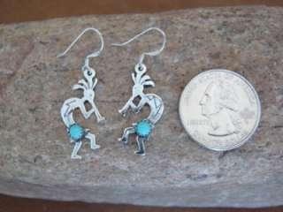 Sterling Silver Kokopelli Turquoise Dangle Earrings