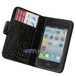 Black Crocodile Leather Wallet Case Cover for iPhone 4G