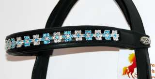 Blue FLOWER Rhinestone Crystal BROWBAND with SWAROVSKI ELEMENTS