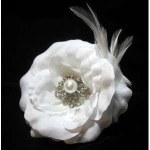 NEW Formal White Wedding Rose Flower Hair Clip with Feathers, Limited.