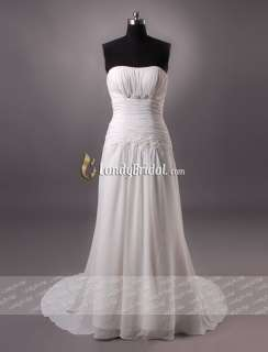 Charming Strapless Stock Beach Chiffon Wedding Dress Bridal Gown