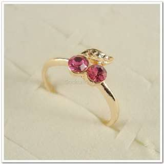 Wholesale Lots of 50 PCS Cherry Gold Plated Rhinestone Crystal Rings