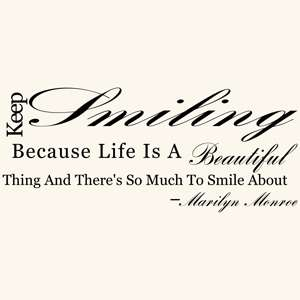 KEEP SMILING MARILYN MONROE QUOTE WALL DECAL STICKER