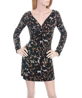 D93 Black/Brown Stretch Leopard Print Dress S/Small