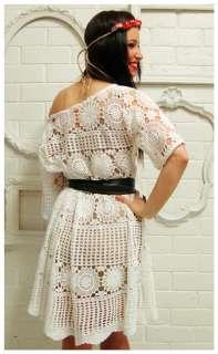 OFF SHOULDER Crochet Lace A~LINE Tent BEACH Hippie WEDDING DRESS Plus