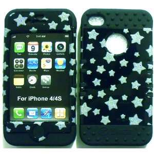 Glitter Stars on Black Silicone for Apple iPhone 4 4S