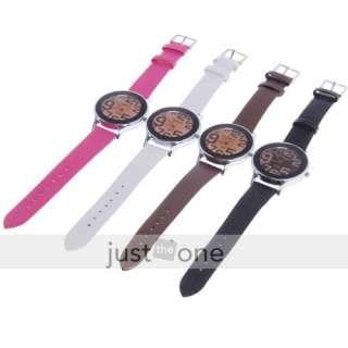 Ladies Quartz Wrist Watch Steel Case pink Leather Band