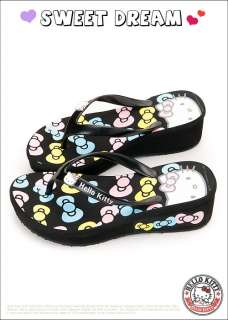 Sanrio Hello Kitty Ladys Slippers Flip Flops Low Heels Black, Pink