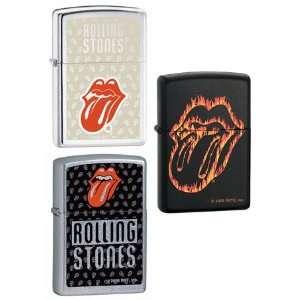 Set   Rolling Stones Music Band Flaming Tongue Black Matte, Red