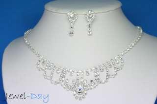 Swarovski Crystal Circle Wedding Set Necklace 18 Karat