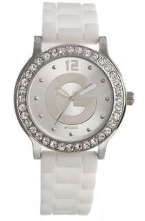 by Guess Ladies New Analog Watch Crystals White Silicone Strap