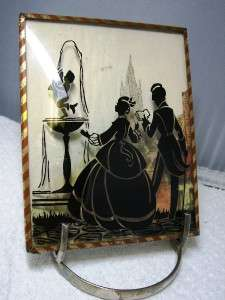 Reverse Painted Silhouette convex bubble glass~Couple