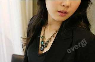 HOT Fashion Baroco Style Cute Big Blue Rhinestone Necklace