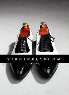 vb HOMME Blk & White Patent Leather Lace Up Oxfords 2AU