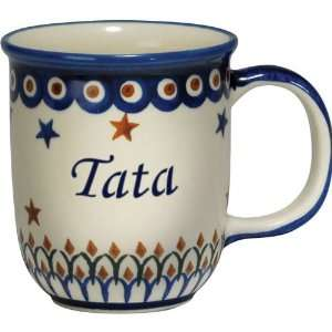 New Polish Pottery 12oz Mug   TATA, DAD Patio, Lawn & Garden