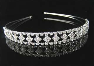 Silver Wedding/Bridal crystal veil tiara headband CR154