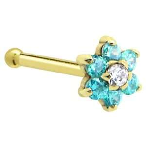 Solid 14KT Yellow Gold Mint Green and Clear Cubic Zirconia Flower Nose