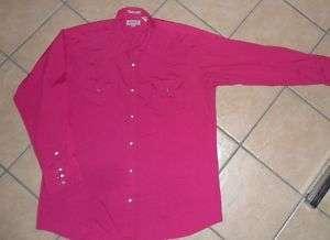 vtg SHEPLERS WESTERN SHIRT Pearl Snap 70s 80s pink XL