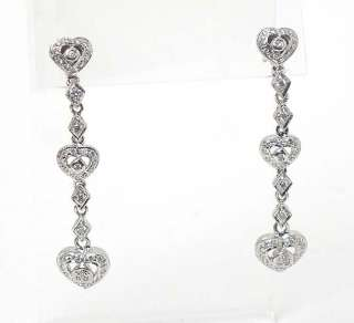 LONG 14k WHITE GOLD DIAMONDS HEART DANGLE EARRINGS