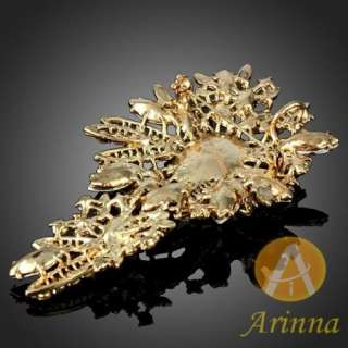 ARINNA smoked topaz snowflake shape shiny brooch pin gold GP Swarovski