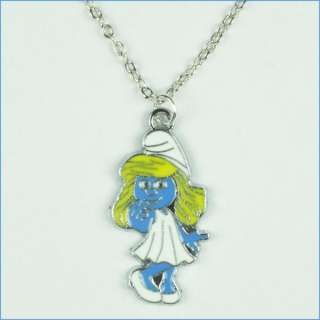 The smurfs Smurfette Charm Pendant Girls Necklace for Girls Birthday