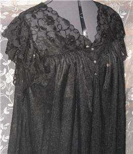 France Double Chiffon Satin Lace Black Peignoir Set Robe Gown M