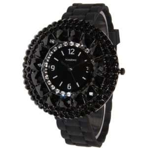 Black Ravishing Crystals Rhinestones Bling Silicone Rubber Jelly Watch