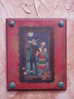Dead Mexican Folk Art Red Panel #3 10x12 in Serenata Serenade