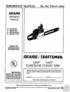 Craftsman Chain Saw Manuals Model # 358.356280