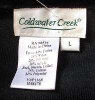 COLDWATER CREEK Black Velour Red Print Zip Front Jacket Pants Track