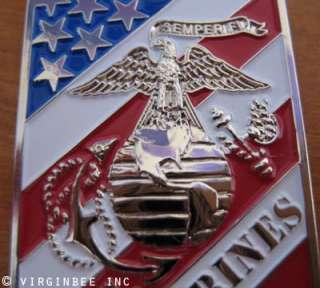 USMC MARINE CORPS EGA CREST FLAG DOG TAG PENDANT CHAIN