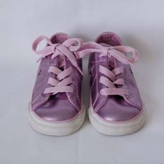 Converse One Star Girls Pink Purple Shiny Tennis Shoes size 6 Child